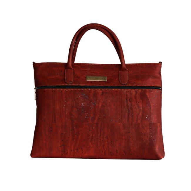 Captain Cork  GIA_WINE RED _ CORK shoulder bag with cork leather detachable shoulder loop and a vegan leather side pocket for phone