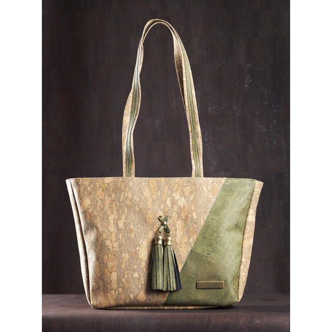Captain Cork ESMERALDA - CORK shoulder bag ARMY GREEN/ EMERALD