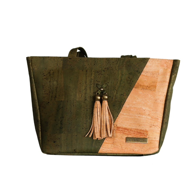 Captain Cork ESMERALDA - CORK shoulder bag ARMY GREEN