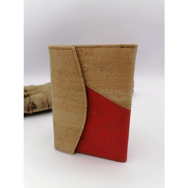 Captain Cork MARIT -damesportefeuille 9delig DUO COLOR NATURAL/RED