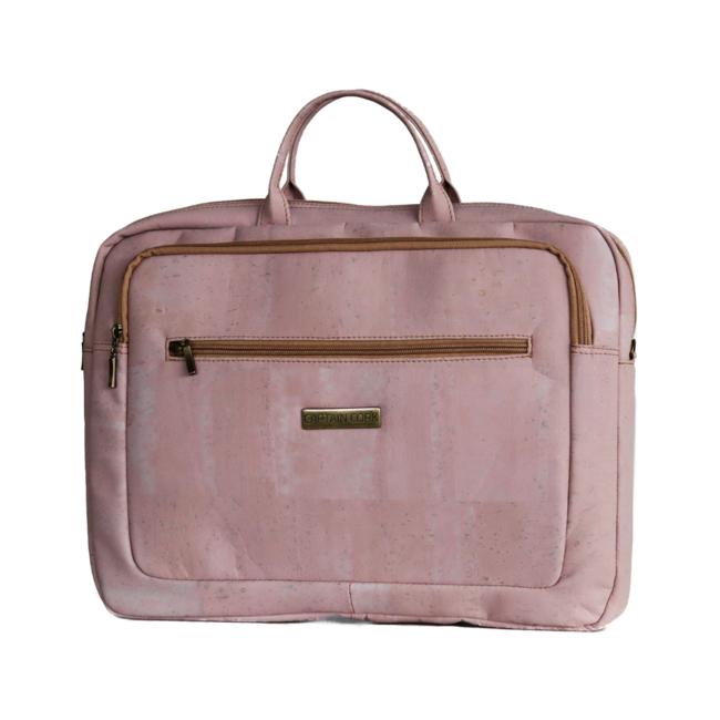 Captain Cork LEWIE_PINK_CORK laptop bag_With 5 compartments and detachable and adjustable cork shoulder strap