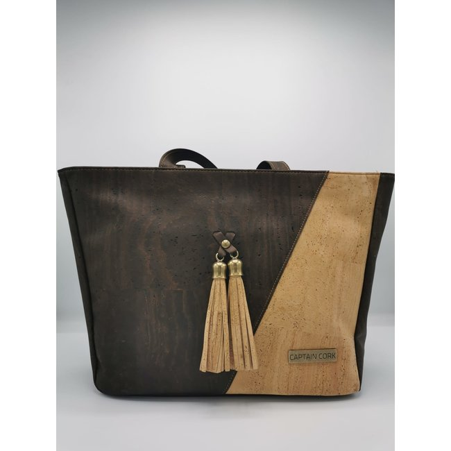 Captain Cork ESMERALDA - CORK shoulder bag DARK BROWN