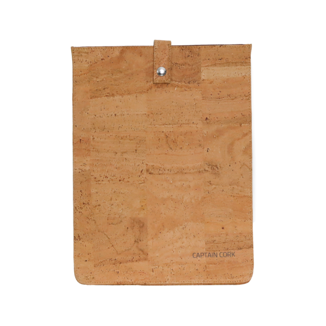 Captain Cork NATURAL_MEDIUM_CORK laptopsleeve: cork leather sleeve for laptop with seal