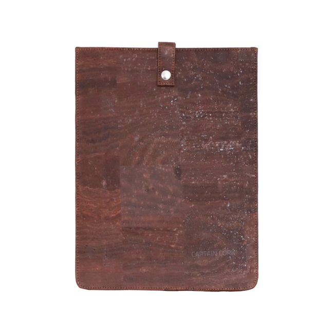 Captain Cork DARK BROWN_SMALL_CORK laptopsleeve: cork leather sleeve for laptop with seal
