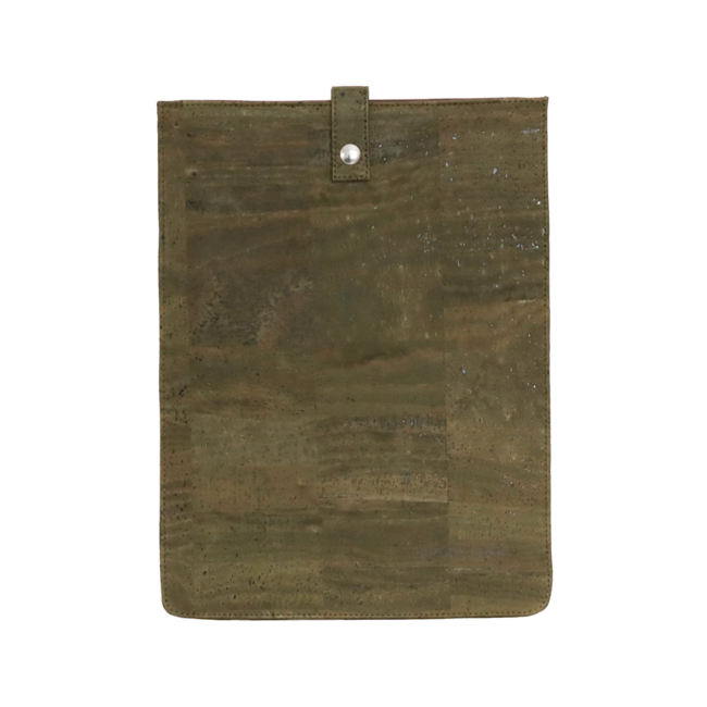 Captain Cork ARMY GREEN_MEDIUM_CORK laptopsleeve: cork leather sleeve for laptop with seal