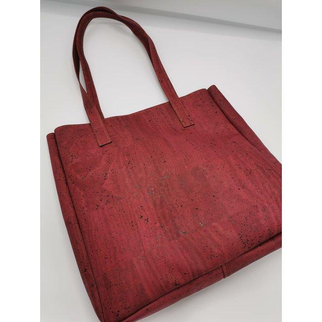 Captain Cork ODETTE_WINE RED_CORK tote bag: vegan leather shopper, eco leather shopping bag