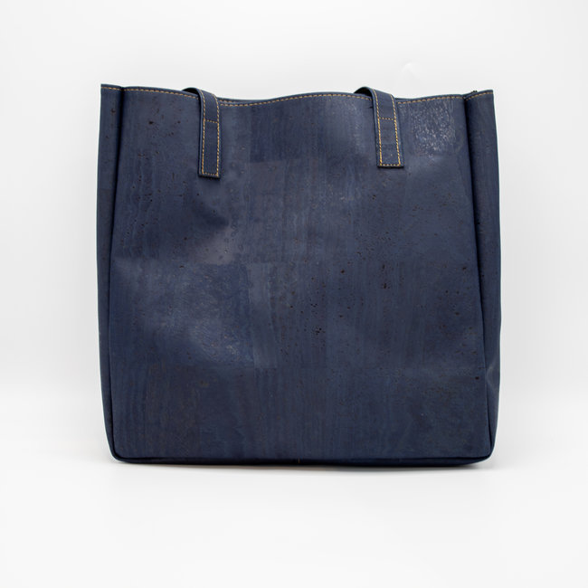 Captain Cork ODETTE_NAVY BLUE_CORK tote bag: vegan leather shopper, eco leather shopping bag