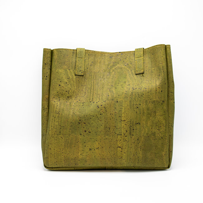 Captain Cork ODETTE_ARMY GREEN_CORK tote bag: vegan leather shopper, eco leather shopping bag