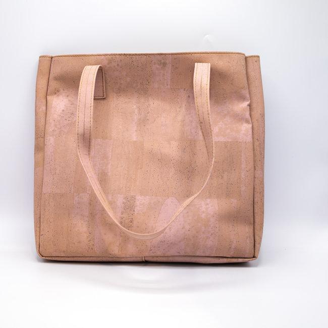 Captain Cork ODETTE_PINK_CORK tote bag: vegan leather shopper, eco leather shopping bag