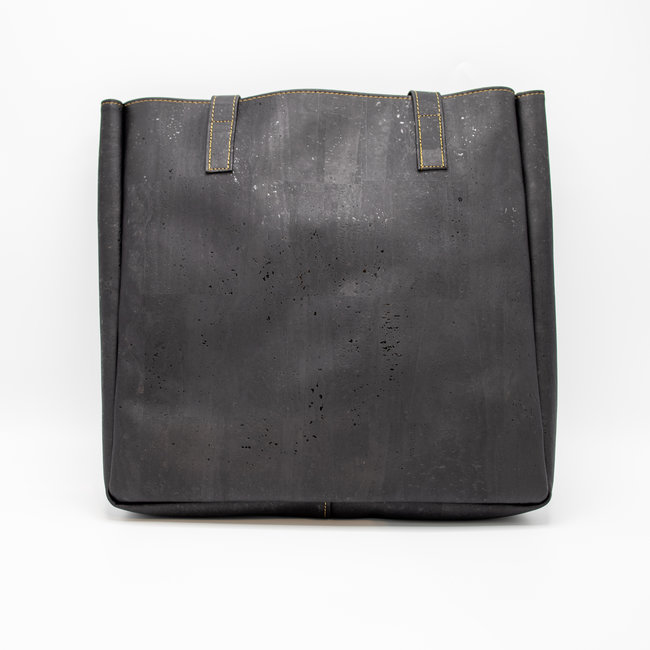 Captain Cork ODETTE_BLACK_CORK tote bag: vegan leather shopper, eco leather shopping bag