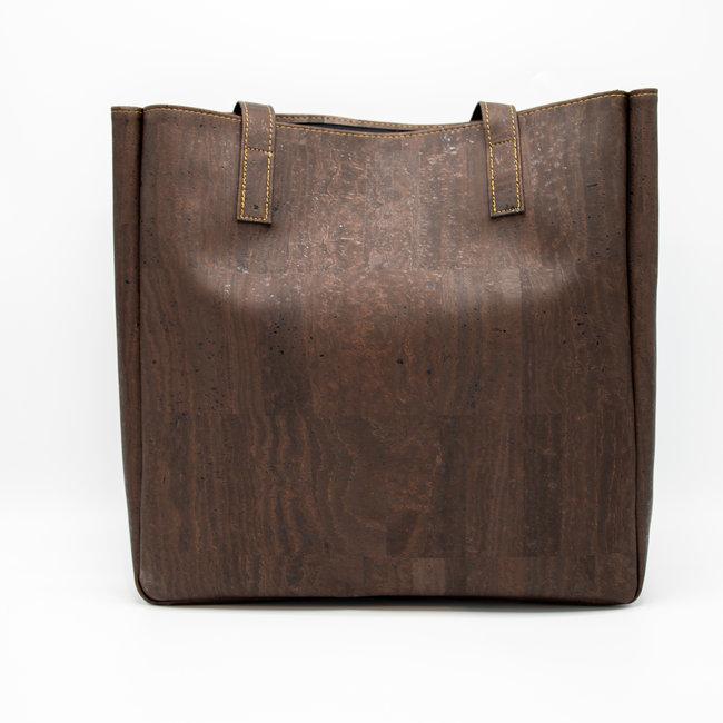Captain Cork ODETTE_DARK BROWN_CORK tote bag: vegan leather shopper, eco leather shopping bag