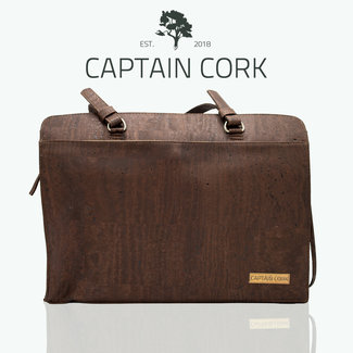 Captain Cork DOMINIQUE_DARK BROWN_CORK laptop bag