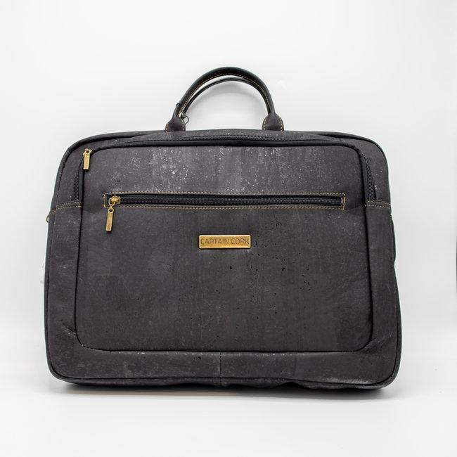 Captain Cork  LEWIE_BLACK_CORK laptop bag_With 5 compartments and detachable and adjustable cork shoulder strap