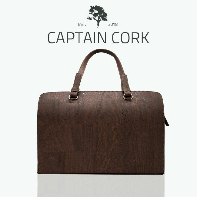 Captain Cork DOMINIQUE LARGE _DARK BROWN Laptop Business bag laptop bag with 5 compartments and detachable and adjustable cork shoulder strap