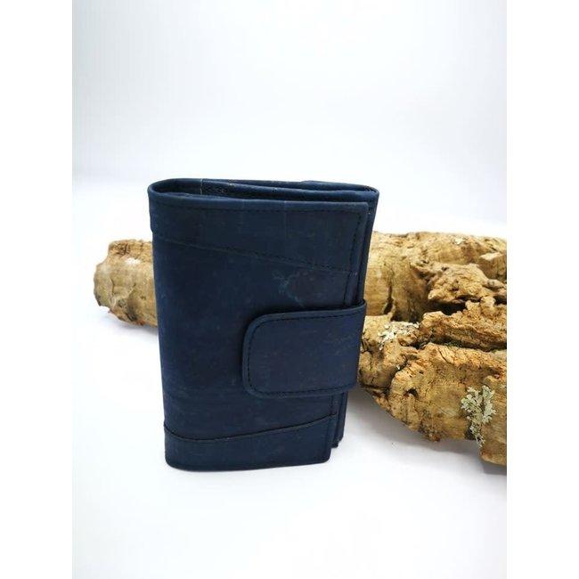Captain Cork MARIT_NAVY BLUE _ CORK wallet: cork wallet consisting of 9 parts with kur leather change bracket