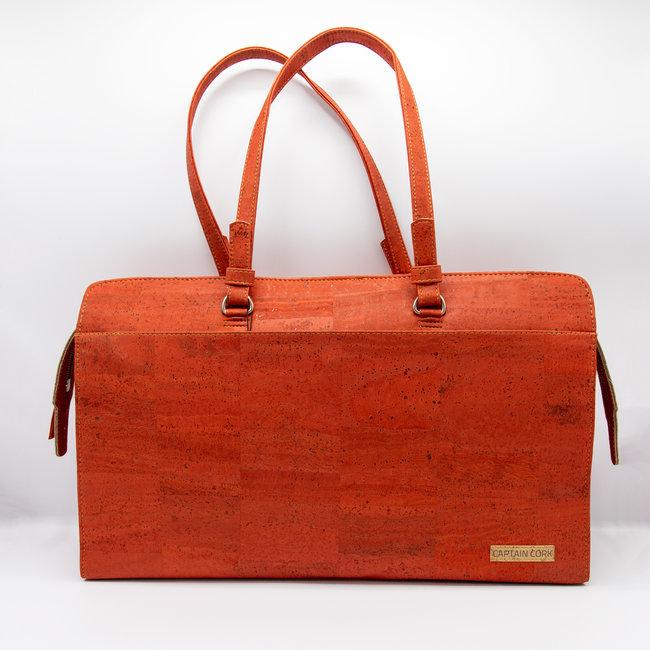 Captain Cork DOMINIQUE LARGE _RED_Laptop Business bag laptop bag with 5 compartments and detachable and adjustable cork shoulder strap