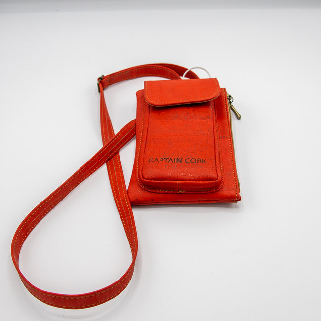 Captain Cork RED_ CORK telephone bag with cork leather shoulder strap, cork wallet and eco leather card bag
