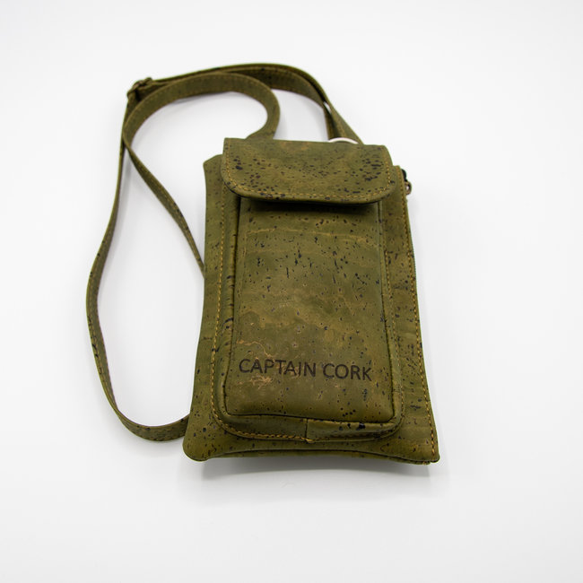 Captain Cork ARMY GREEN_ CORK telephone bag with cork leather shoulder strap, cork wallet and eco leather card bag