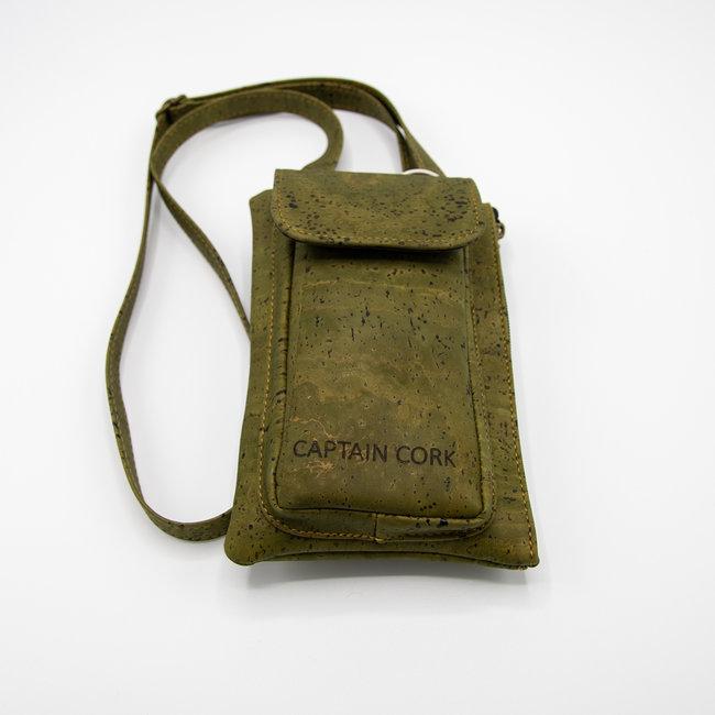 Captain Cork ARMY_GROEN KURKEN telefoontas met kurklederen schouderriem, kurken portefeuille en ecolederen kaartenzakje