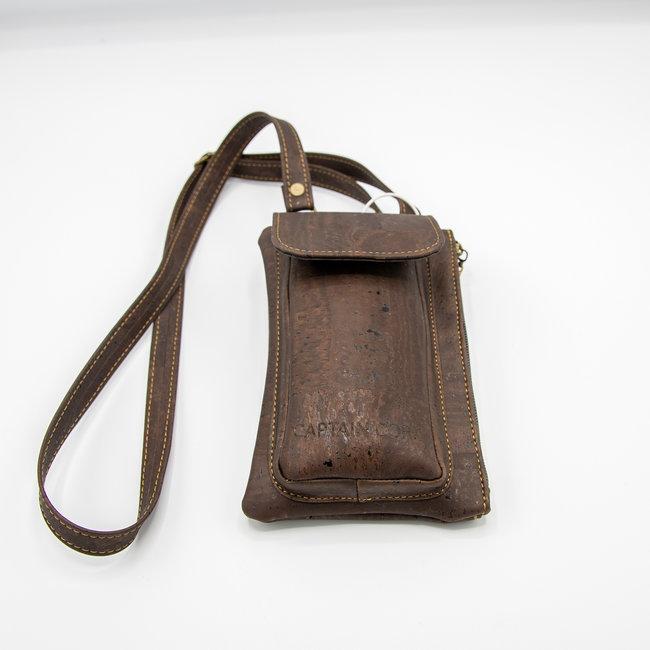 Captain Cork DARK BROWN_ CORK telephone bag with cork leather shoulder strap, cork wallet and eco leather card bag