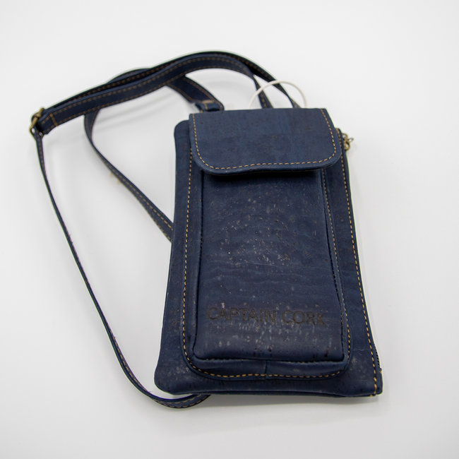 Captain Cork NAVY BLUE_ CORK telephone bag with cork leather shoulder strap, cork wallet and eco leather card bag