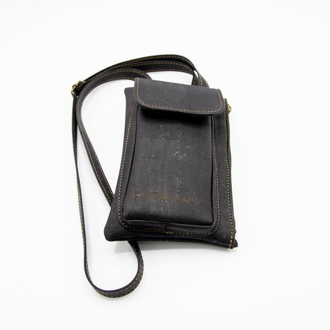 Captain Cork ZWART_ KURKEN telefoontas met kurklederen schouderriem, kurken portefeuille en ecolederen kaartenzakje