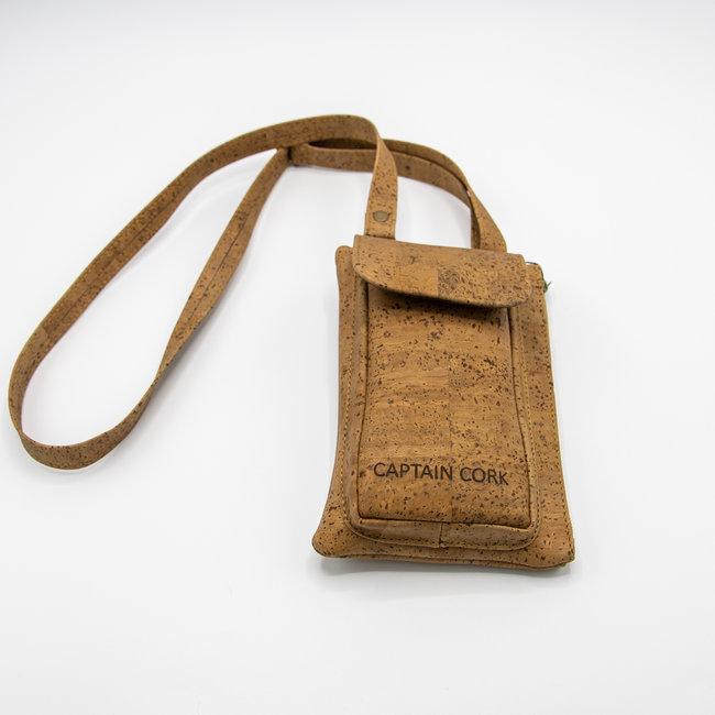 Captain Cork TOBACCO_ KURKEN telefoontas met kurklederen schouderriem, kurken portefeuille en ecolederen kaartenzakje
