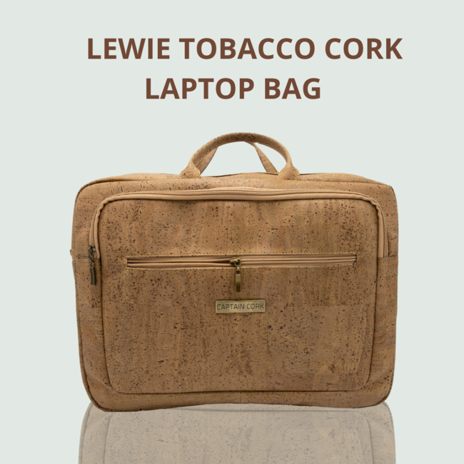 Captain Cork LEWIE_TOBACCO_CORK laptop bag_With 5 compartments and detachable and adjustable cork shoulder strap