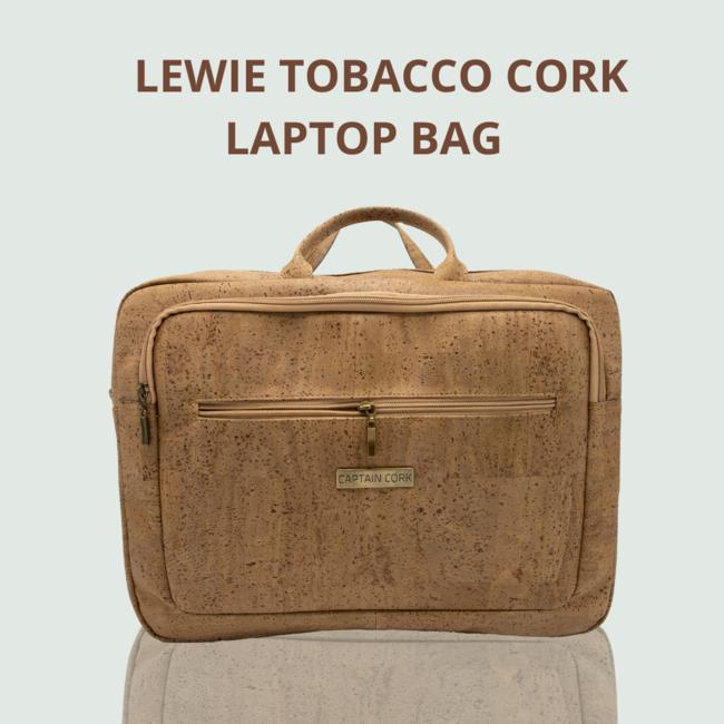 Captain Cork LEWIE_TOBACCO_KURKEN laptoptas_ met 5 vakken en afneembare en verstelbare kurken schouderriem