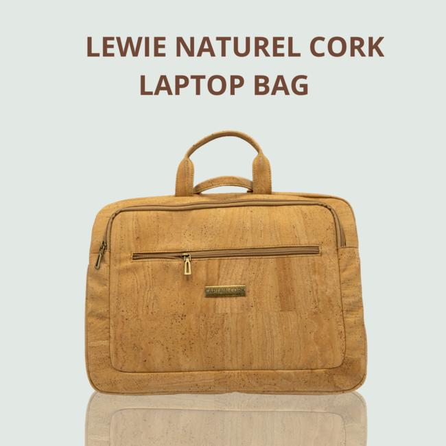 Captain Cork LEWIE_NATUREL_KURKEN laptoptas_ met 5 vakken en afneembare en verstelbare kurken schouderriem