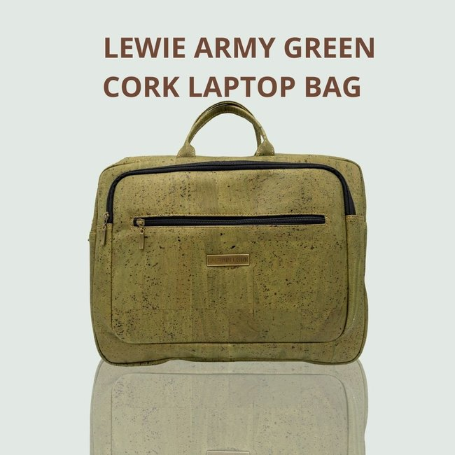 Captain Cork LEWIE_ARMY GREEN_CORK laptop bag_With 5 compartments and detachable and adjustable cork shoulder strap