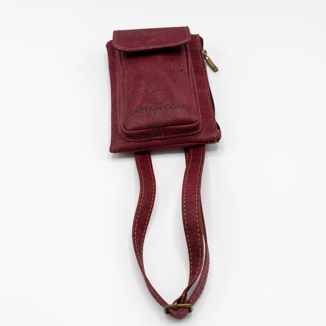 Captain Cork WINE RED_ CORK telephone bag with cork leather shoulder strap, cork wallet and eco leather card bag