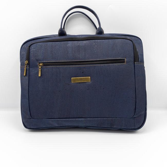 Captain Cork LEWIE_MARINE BLUE_CORK laptop bag_With 5 compartments and detachable and adjustable cork shoulder strap