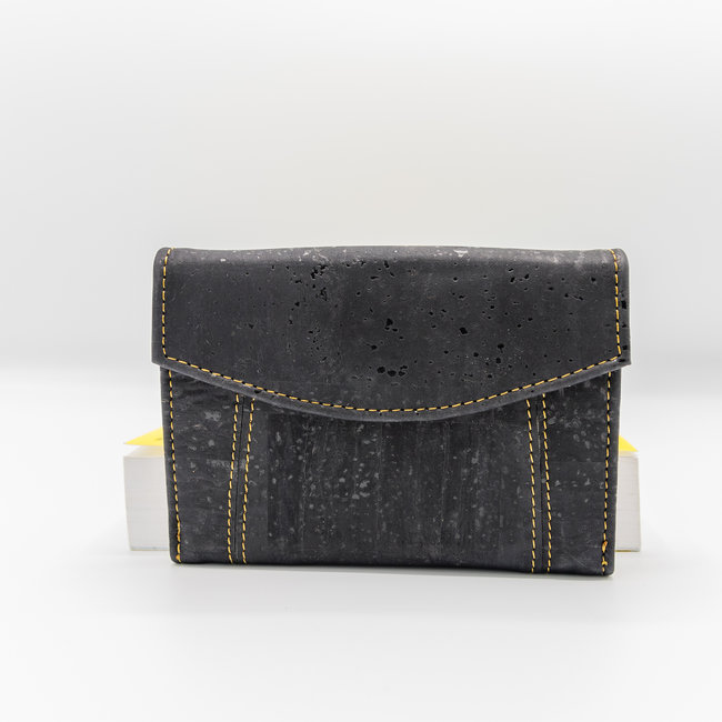 Captain Cork MARIT_BLACK _ CORK wallet: cork wallet consisting of 9 parts with cork leather change bracket
