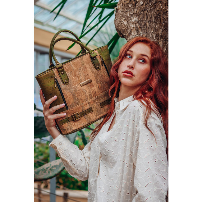 Captain Cork LOLITA_ARMY GREEN_CORK HAND BAG: Stylish hand bag made out of cork leather