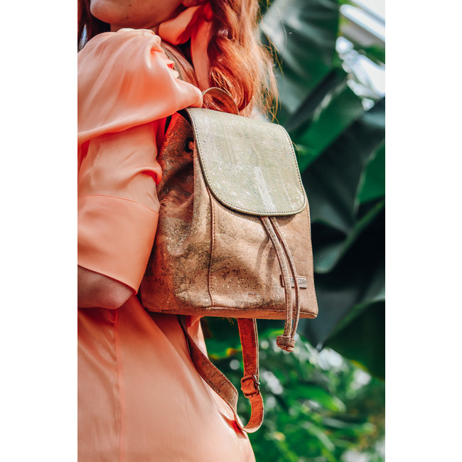 Captain Cork LUCA_ ARMY GREEN_CORK back pack : City back pack made out of cork leather