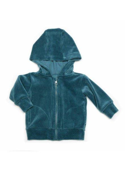 OUTLET // hoodie velours - aqua