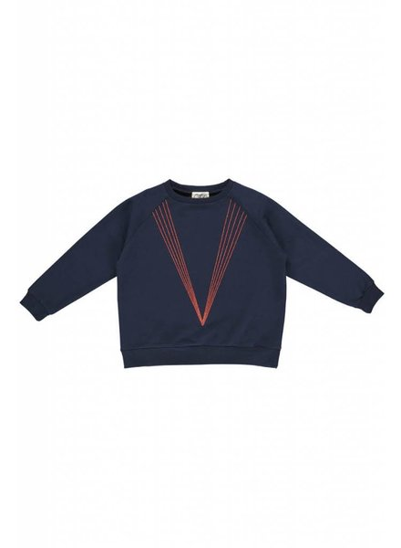 sweater - ABBY Classy Navy 5 Lines Embroidery
