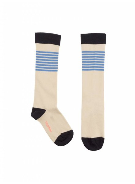 OUTLET // knee socks stripes - stone/cerulean blue