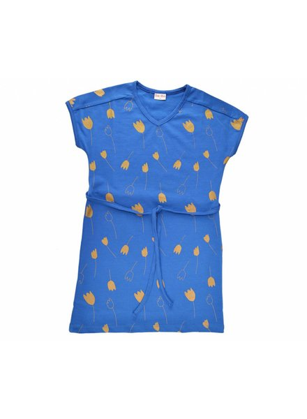 OUTLET // Dress - Tulip Gold darkblue v-neck