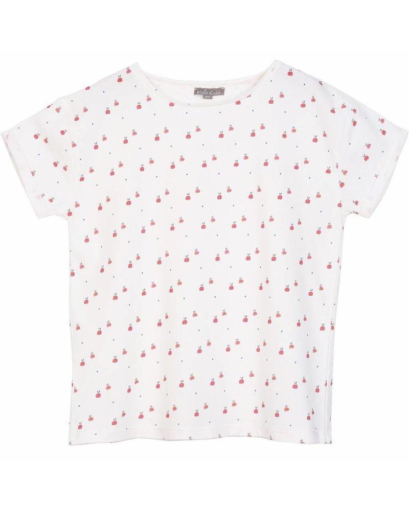 t-shirt - Ecru pommes rouges