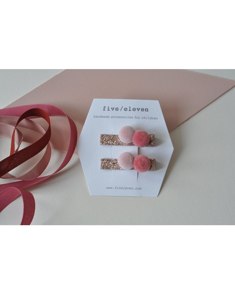 Hair accessories - pair of pompons pink champagne