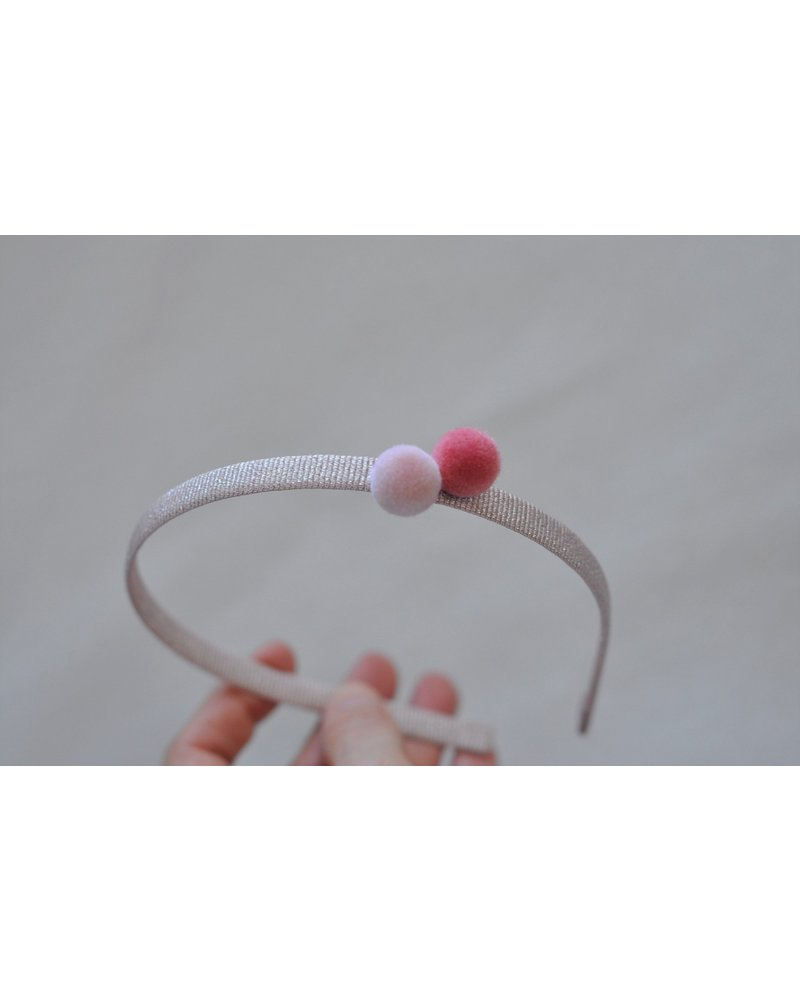 Hair accessories - diadeem 2 pompons cotton candy