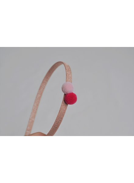 Hair accessories - diadeem 2 pompons watermelon