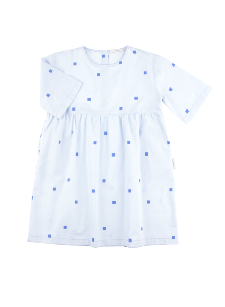 OUTLET // belled dress squares dots - light blue/cerulean blue