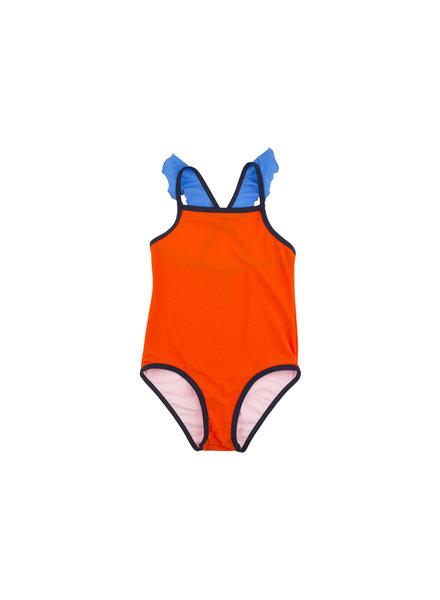 OUTLET // swimsuit color block frill - carmin/light cerulean blue