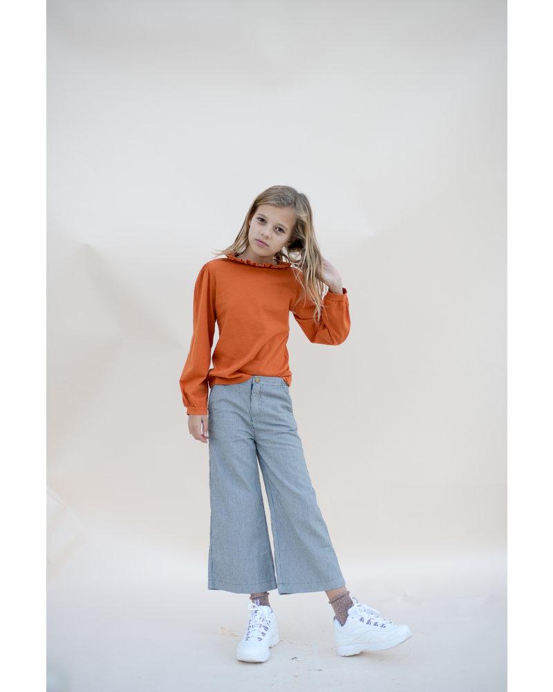 Pants - Striped Blue Denim