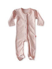 jumpsuit met voetjes - light pink dot