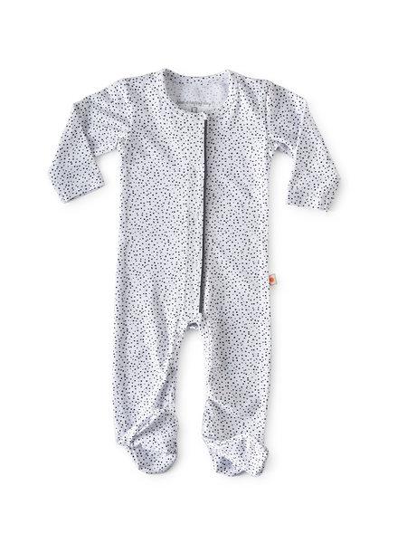 Little Label jumpsuit met voetjes - white dot