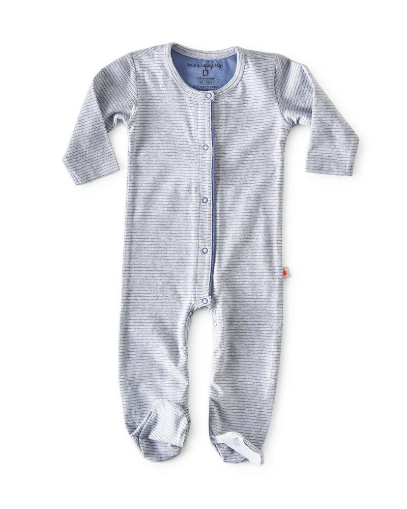 Little Label jumpsuit met voetjes - blue stripe
